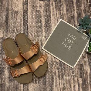 b22c904110c Madden Girl Rose Gold Brando Buckle Slide Sandals